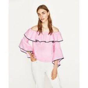 Zara size large ruffled pink top.